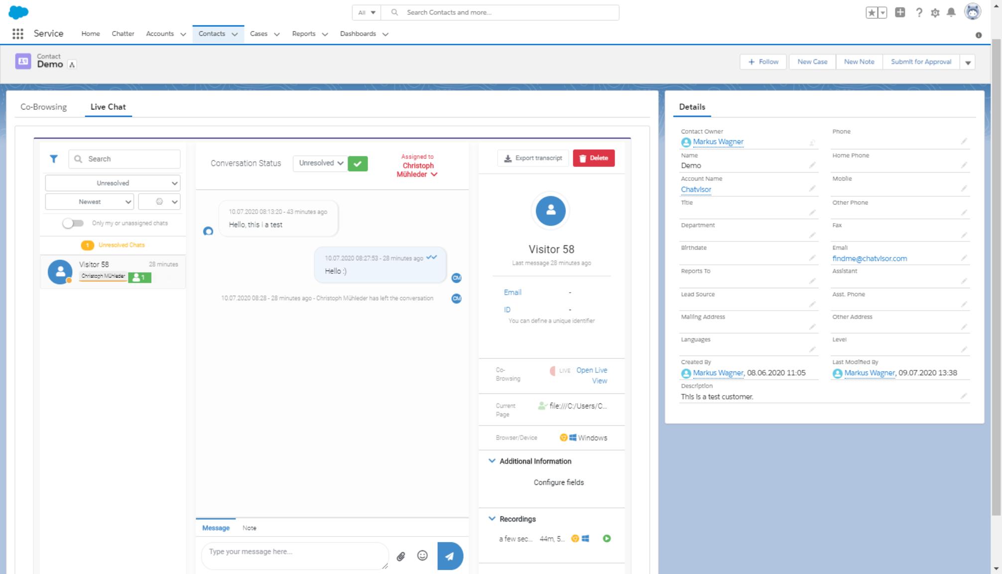 Salesforce Live Chats